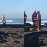 Viral Bule Berpose Seksi Pakai Bikini di Samping Ibu-ibu Sembahyang